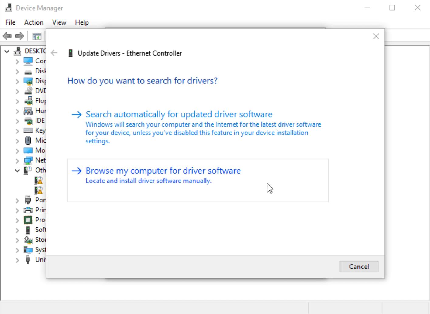 Выбор места установки драйвера в Windows 10