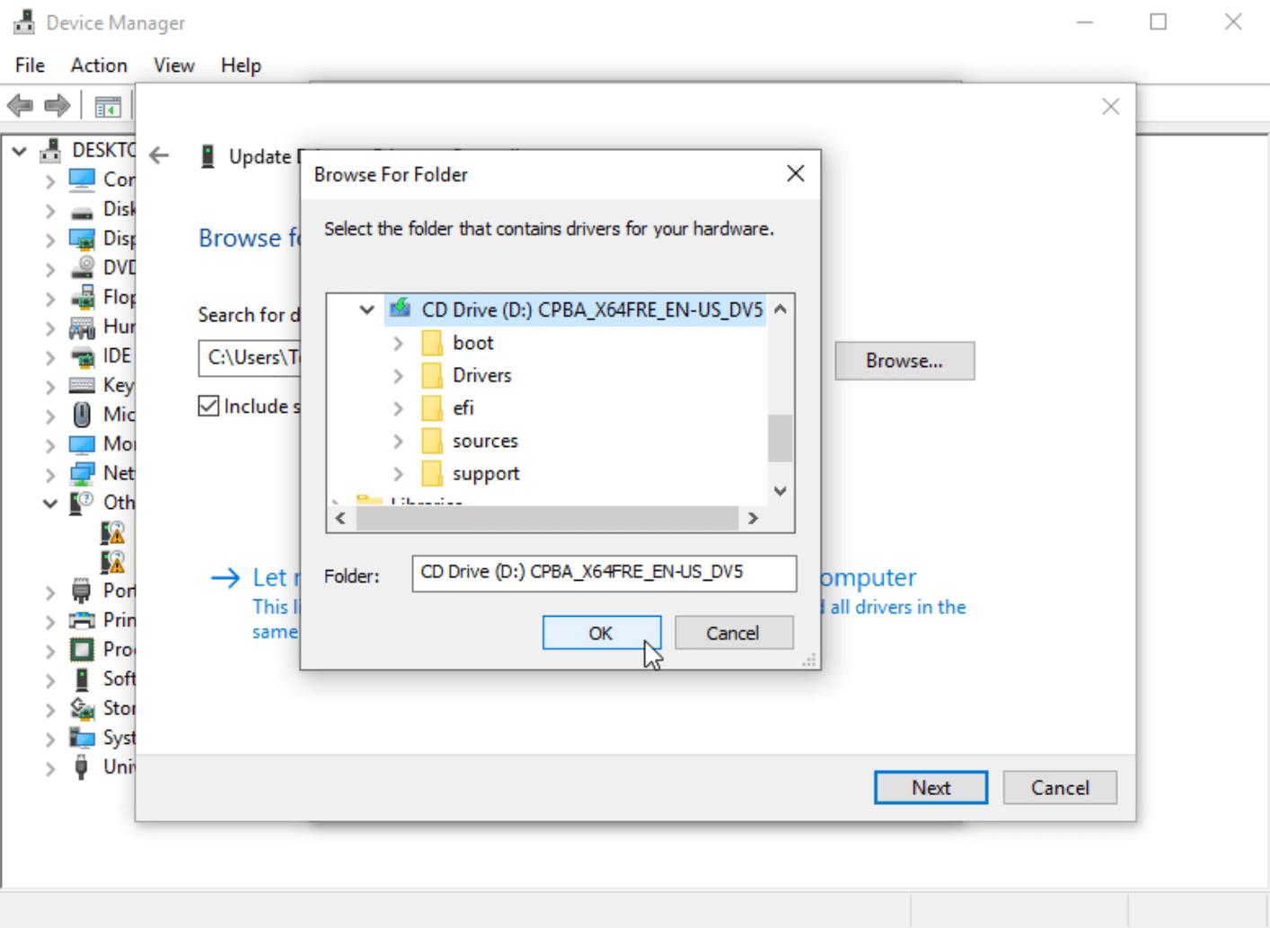 Выбор папки для установки драйвера в Windows 10
