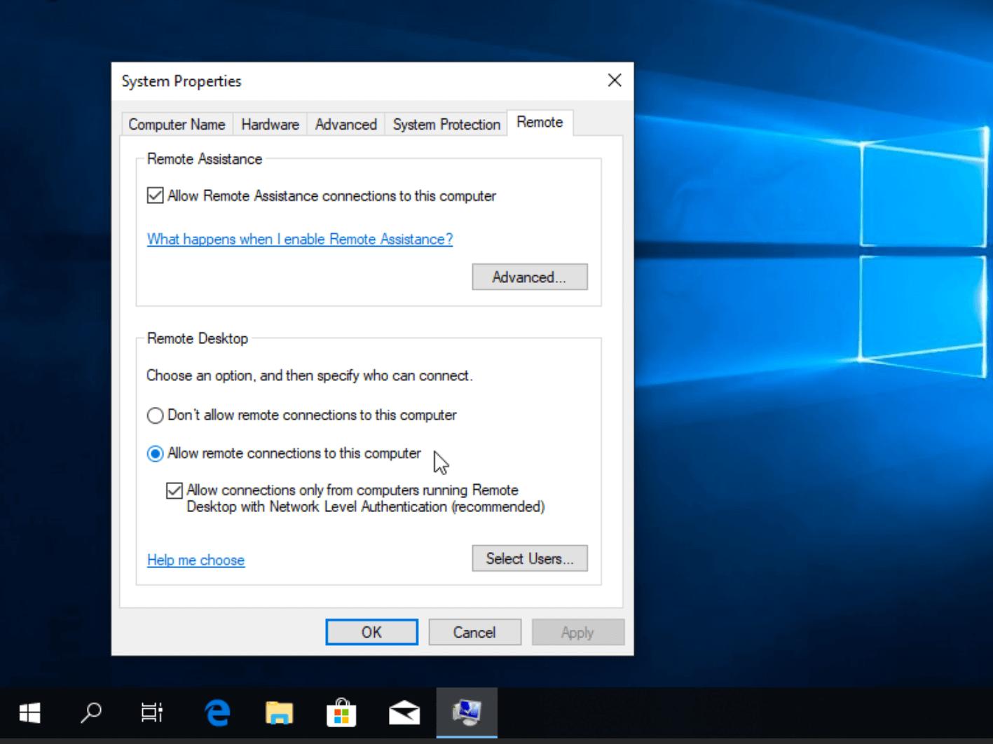Разрешение удаленного доступа к серверу в Windows 10