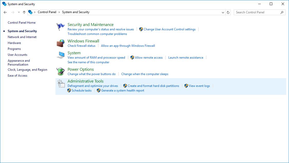 Раздел System and Security в панели управления Windows