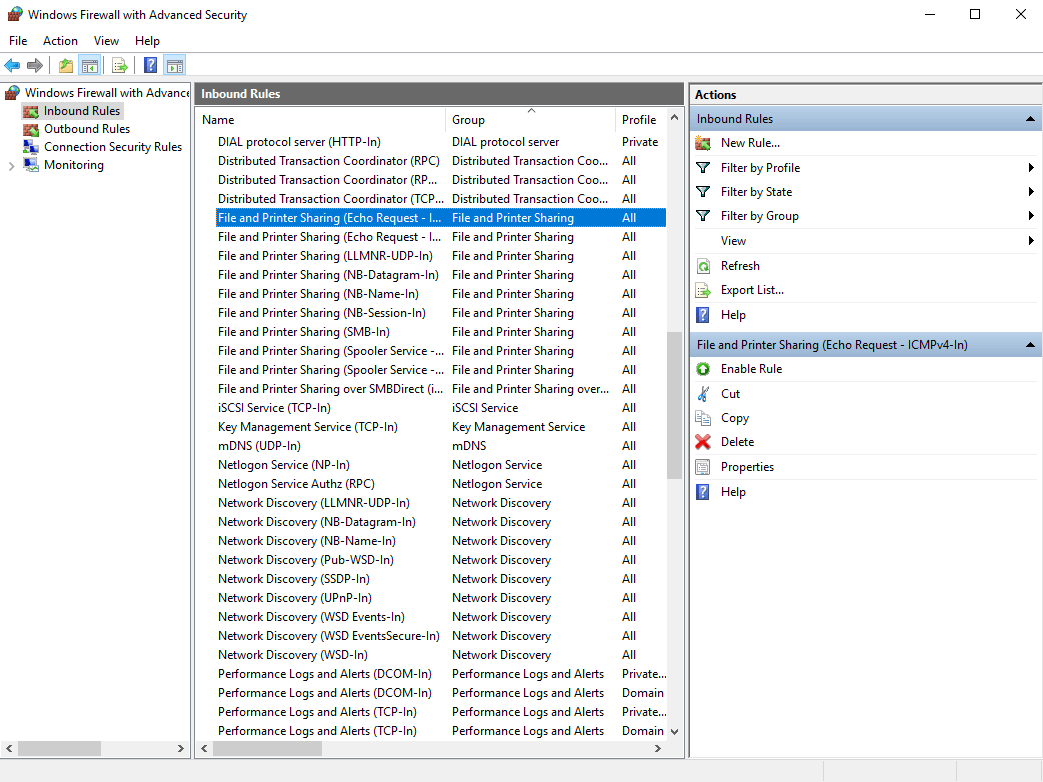 Правило File and Printer Sharing на Windows Server 2016