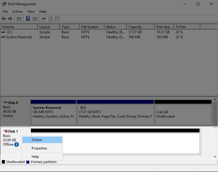 Опции для неиспользуемого диска в разделе Disk Management