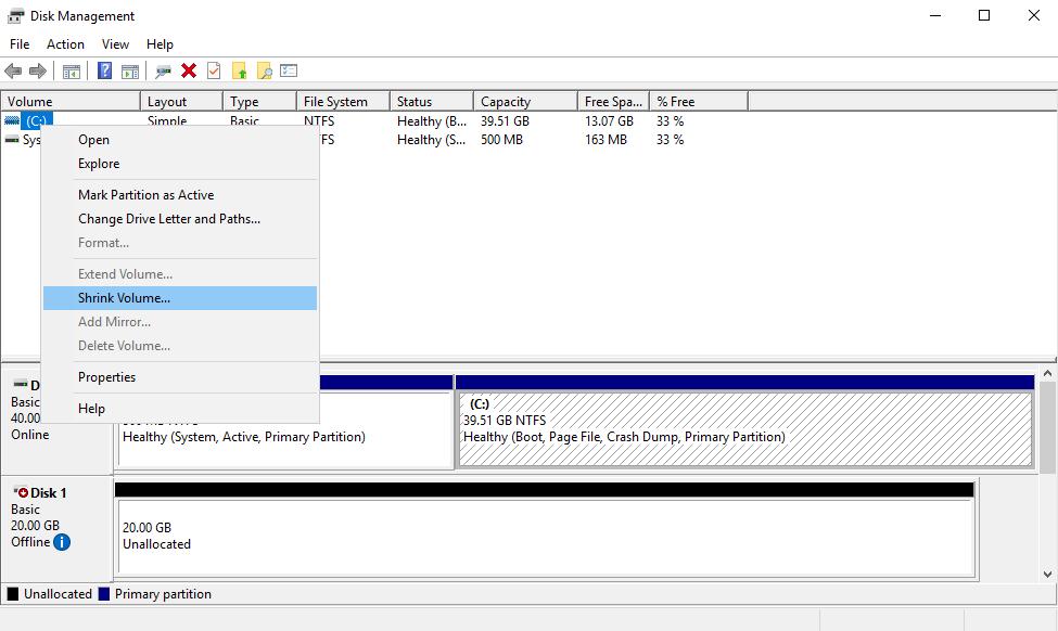 Пункт Shrink Volume по клику правой кнопкой мыши на диске в Disk Management