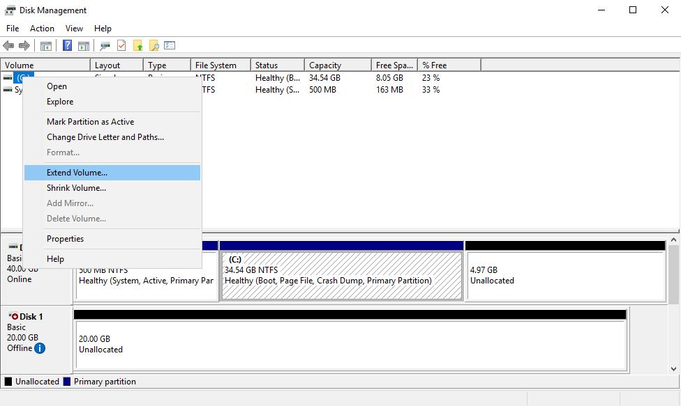 Опция Extend Volume в разделе Disk Management