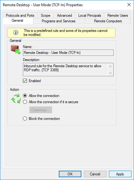Вкладка General в настройках Remote Desktop - User Mode (TCP-In)