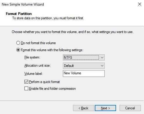 Опции выбора файловой системы и названия нового раздела