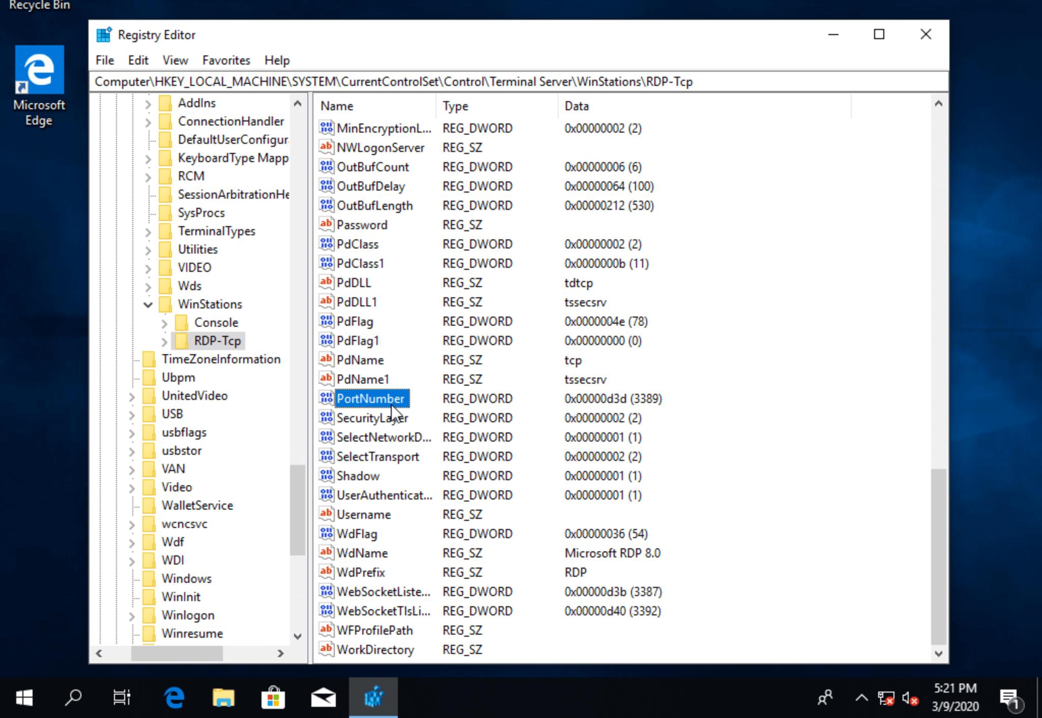 Раздел RDP-Tcp в реестре Windows 10
