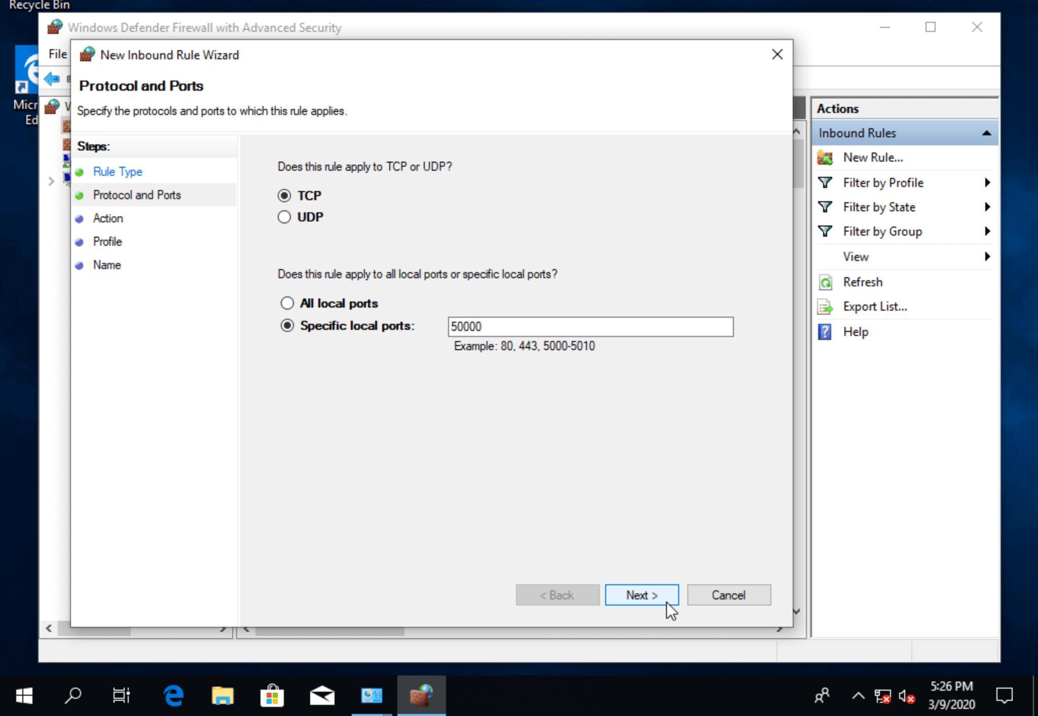 Изменить RDP порт по умолчанию в настройках файервола Windows 10