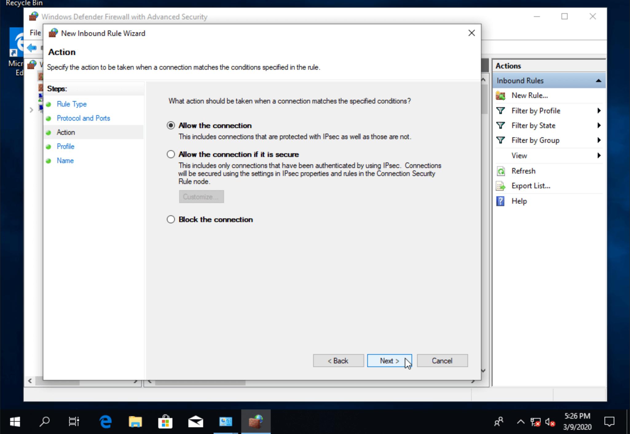 Разрешить подключение через remote desktop порт