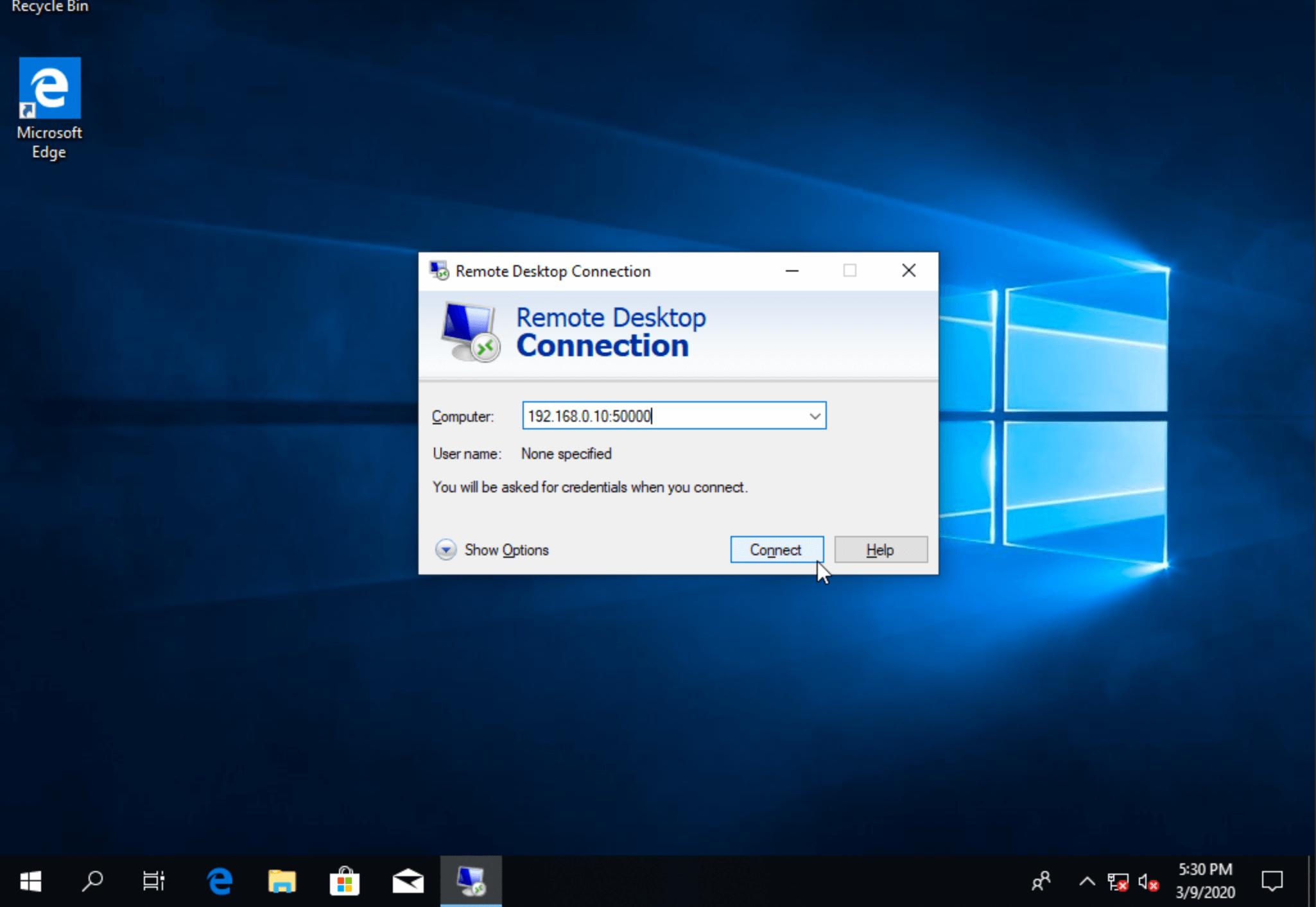 Подключение через новый порт удаленного рабочего стола в windows 10
