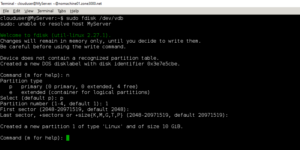 Результат создания нового диска и установки его параметров