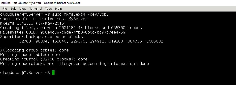 Результат команды sudo mkfs.ext4 /dev/vdb1