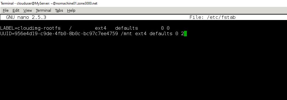 Результат команды sudo nano /etc/fstab и введения новой записи диска