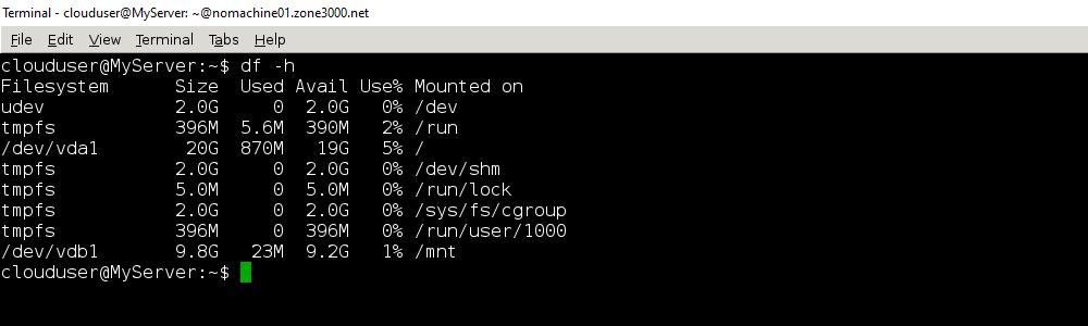 Результат команд sudo mount -a и df -h
